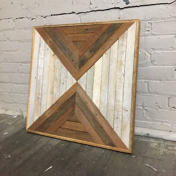 Reclaimed Wood Wall Art 23x23 Natural Wood