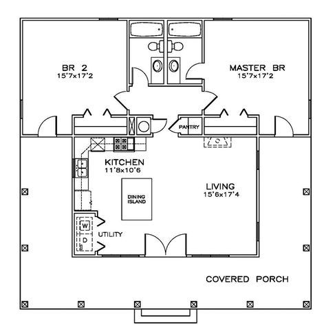 First Floor Plan of Cottage Florida Southern House Plan 72317 Main Living Area: 1189