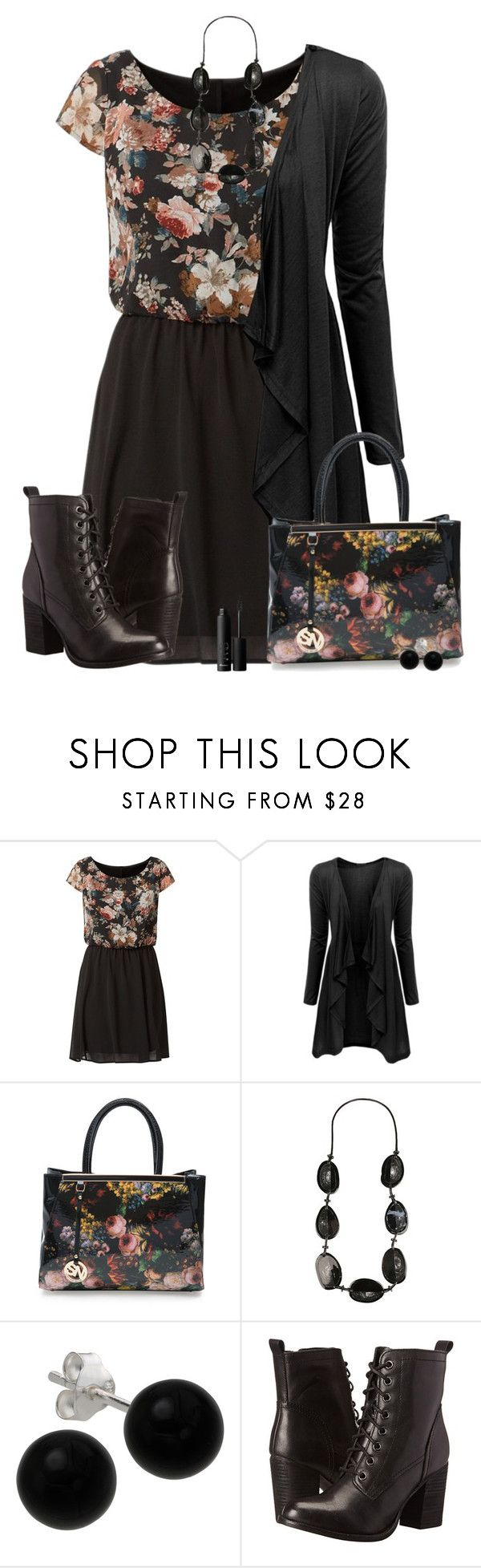 """black & floral"" by countrycousin ❤ liked on Polyvore featuring Pussycat, Doublju, Ashley Stewart, Bridge Jewelry, Steve Madden and NARS Cosmetics"