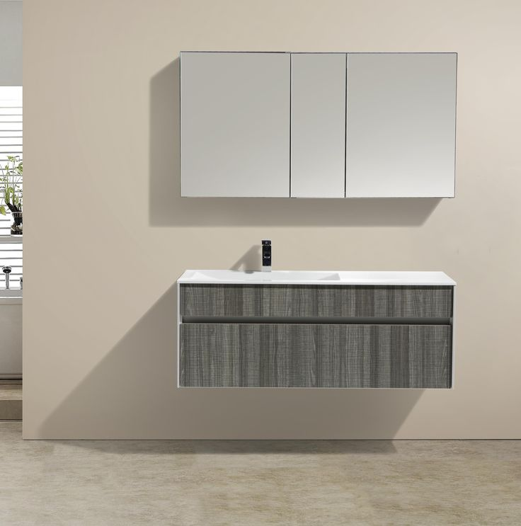 The Art Gallery Eviva Ashy inch wall mount modern bathroom vanity with a single sink in high