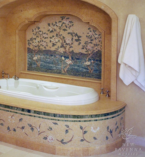 Flowering Trees Mosaic Backsplash And Tub Trim In Tumbled