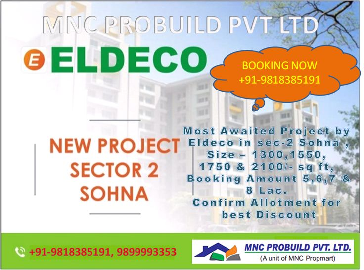 Eldeco group is launching new residential project in sector 2 Sohna. Eldeco new project is located in sohna beside Gurgaon. It is located at 12 minute drive from Gurgaon and 30 minute drive from Delhi. Eldeco sohna is very close to Gurgaon and Delhi NCR. Eldeco group is offering 2BHK and 3 BHK luxury apartments in Sohna of various sizes 1300sq.ft to 2100sq.ft (Approx) with modern amenities like Swimming pool, reserved parking as well as Green Garden and many more.