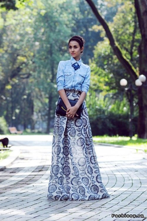Blue and white maxi skirt, chambray shirt, statement necklace.