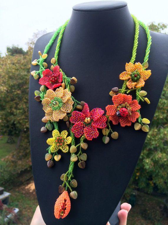 Cute korálky květinový náhrdelník na podzim paletě - ručně vyráběné šperky - stylové barvy - Boho náhrdelník - řemeslník šperky