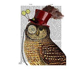 Affiche STEAMPUNK OWL PORTRAIT - 21*26