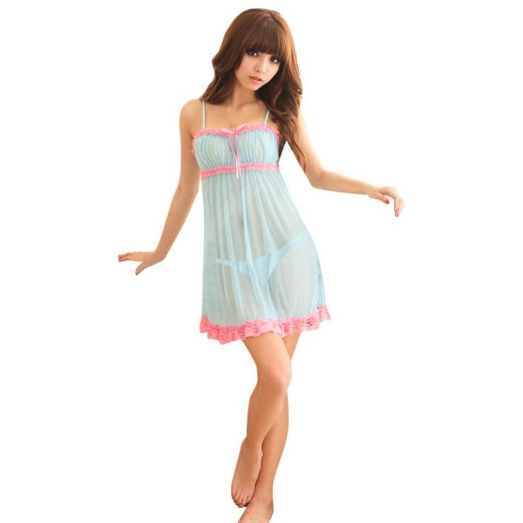 Sexy Deep V Nightdress Nightgown Lace Lingerie Babydoll Women Sleepwear Nightwear