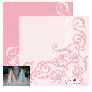POMP rose/white  - luxusné svadobné servítky z netkanej textílie, ornament, ružová, biela rozmer 40x40