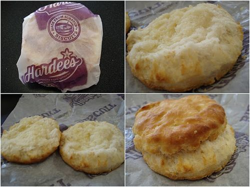 "Hardee's Buttermilk Biscuits     4 cups self-rising flour   1 tbs. sugar   1 tbs. baking powder   2 cups buttermilk   2/3 c. shortening     Mix together, but do not knead. Roll out to 1"" thick. Cut and brush tops with additional buttermilk. Place on greased cookie sheet. Bake at 400 degrees for 15 minutes."