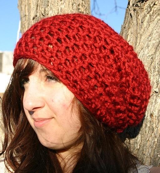 Deep Red Women's Super Slouch Beanie Hat. $19.89, via Etsy.: Slouch Hats, Easy Crochet Hat, Crochet Berets Patterns, Berets Crochet, Crochet Hats Patterns, Beanie Hats, Crochet Patterns, Crochet Knits Hats, Crochet Beret Pattern