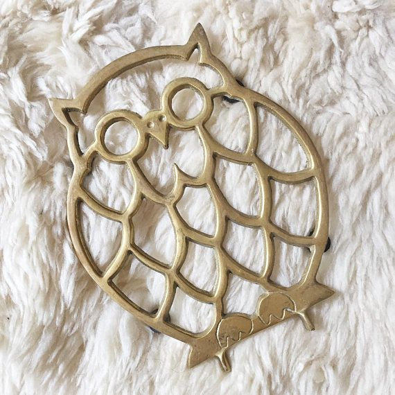 Vintage Brass Owl Trivet // Midcentury Decor