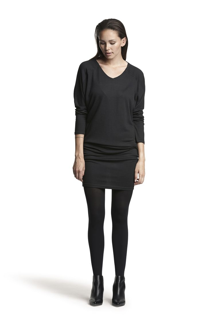 Guinea wool dress and Gipsy pantyhose #black #fashion #dress #comfortable #soft #AW15