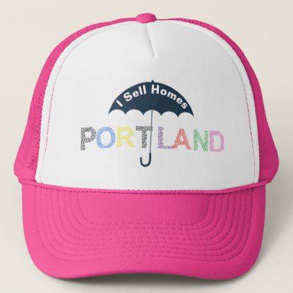 Portland Real Estate Homes Pink Baseball Cap Hat - real estate gifts business cyo diy customize