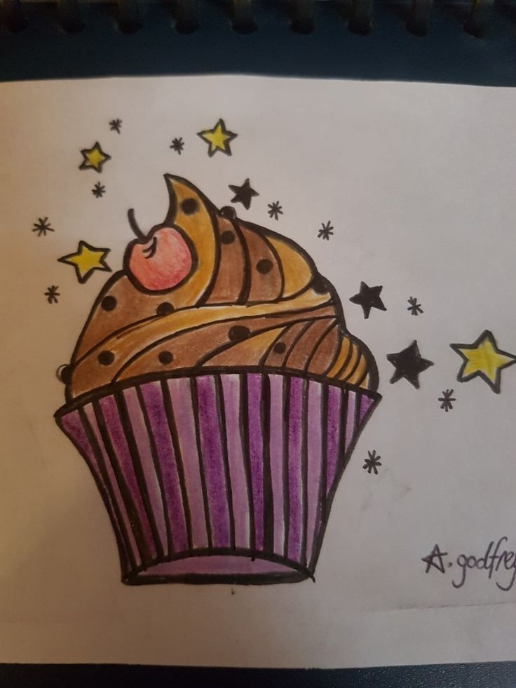 Cupcake drawing cute pretty freehand
