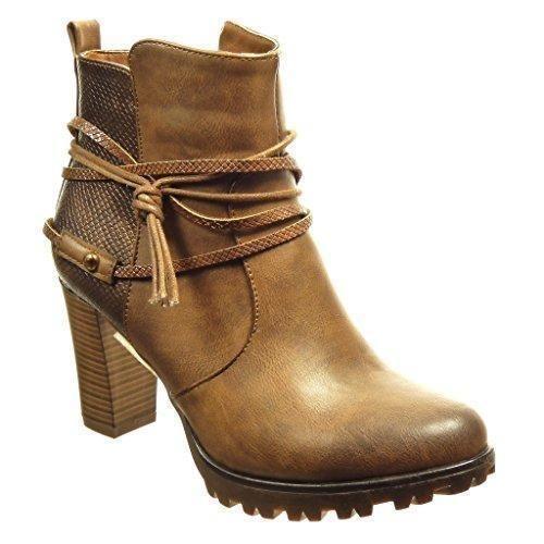 Oferta: 35.71€ Dto: -6%. Comprar Ofertas de Angkorly - Zapatillas de Moda Botines low boots zapatillas de plataforma mujer piel de serpiente tanga Talón Tacón ancho alto barato. ¡Mira las ofertas!