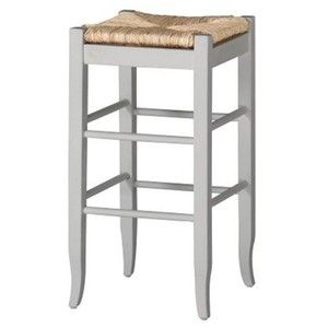 Boraam 94329 Square Rush Seat Stool, 29-Inch, White