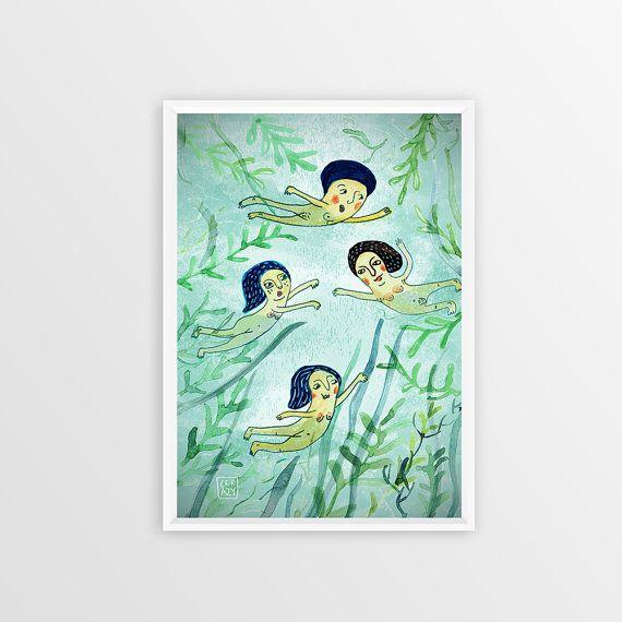 SWIMMERS Poster 50x70cm Fine Art Giclée Print illustration