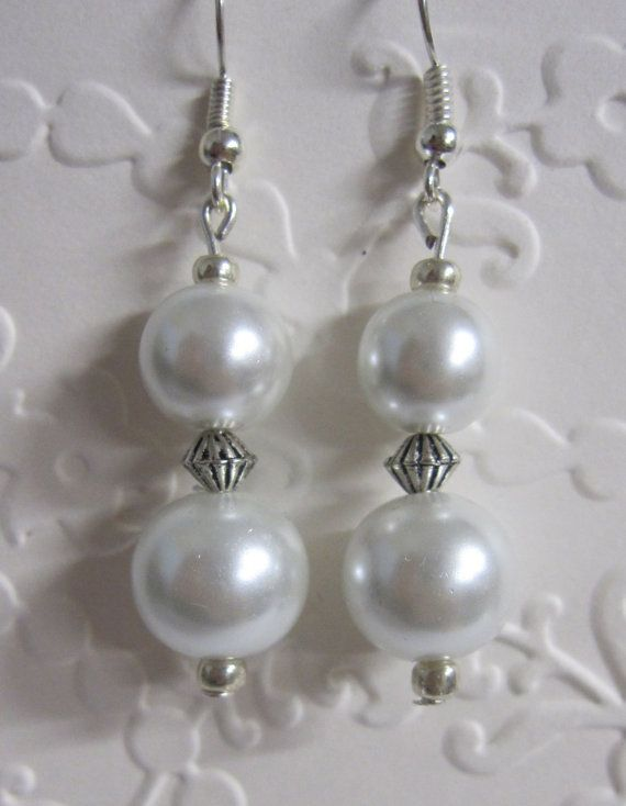 Pearl finish Drop Earrings with silver tone fittings