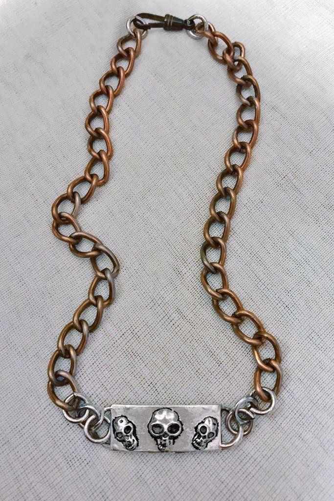 Chained Skulls ✠ Salvaged Vintage Metal Choker  ⚡️ www.shopbackbite.com ⚡️