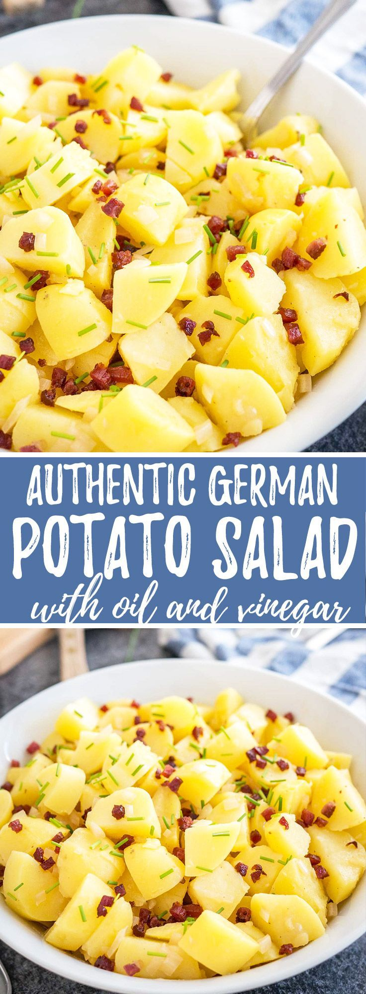 Authentic German Potato Salad is made with vinegar, broth, and oil and can be served warm or cold. A perfect side dish for any occasion, from summer BBQs to potlucks!