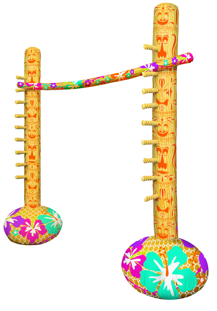 Find out how low you can go with this fun luau party game. Cue the music and line everyone up for a try at the Inflatable Limbo Game. Just add air and the set comes together quickly with 2 uprights in