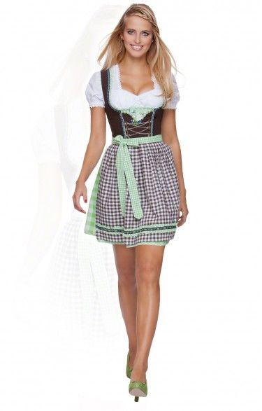 German mini dirndl 2pcs. - Flower - apple green 50cm