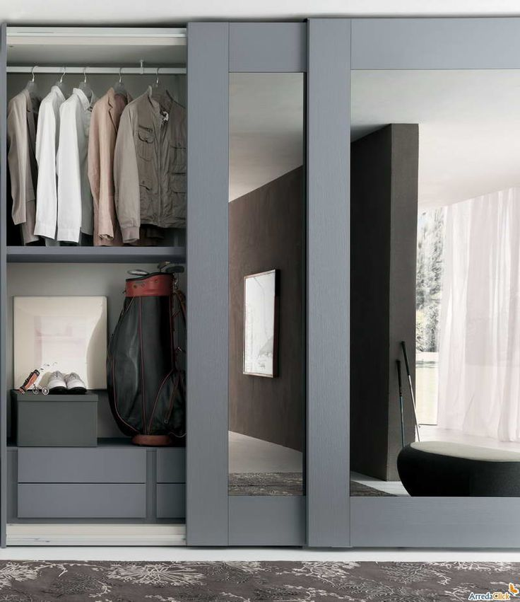 Sliding Mirror Closet Doors With Gray Hair