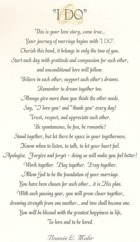 "I would have the priest read this before we day our vows or before we say ""I Do"""