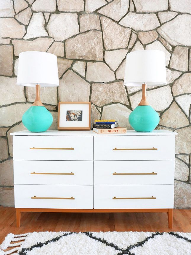 Love this white + gold DIY mid-century modern IKEA dresser hack.
