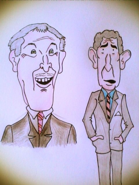 Caricatures of prince charles and bruce forsyth