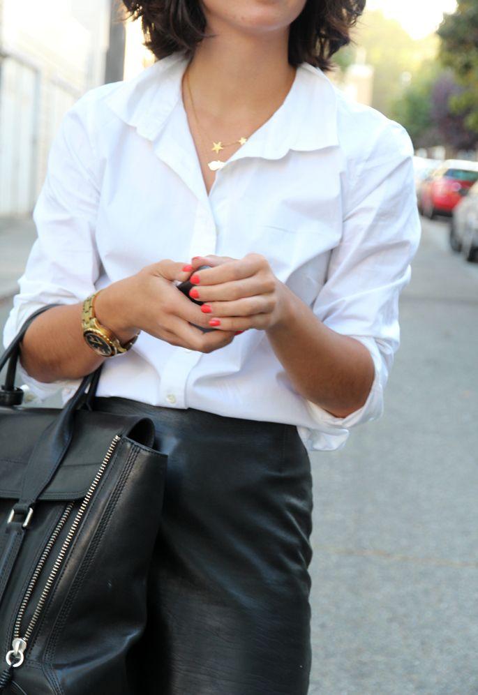 white blouse leather skirt fashion