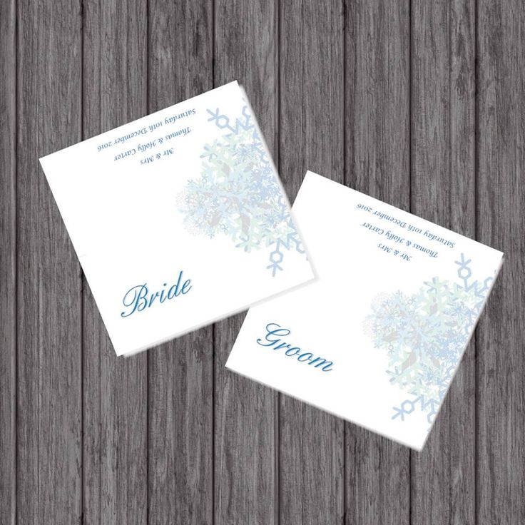 Winter Wedding Place Cards, Personalised by LoobyDooLetters on Etsy
