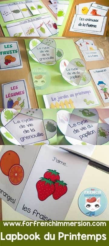 Lapbook du printemps - French spring lapbook - activities about farm animals, life cycle of frogs and butterflies, garden, fruits, and vegetables - en français