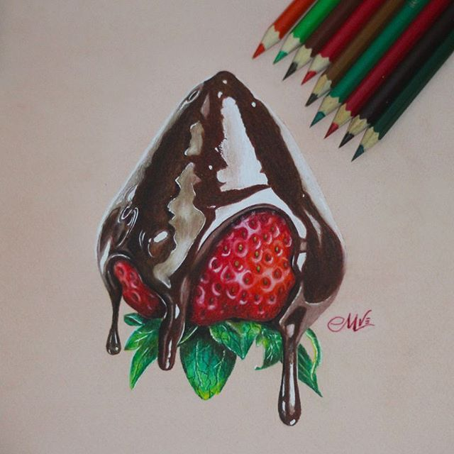 sweet rocket drawing strawberry chocolate by madethart