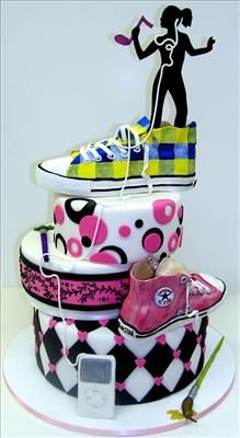 5 tier converse Cake for Sweet 16 - Google Search