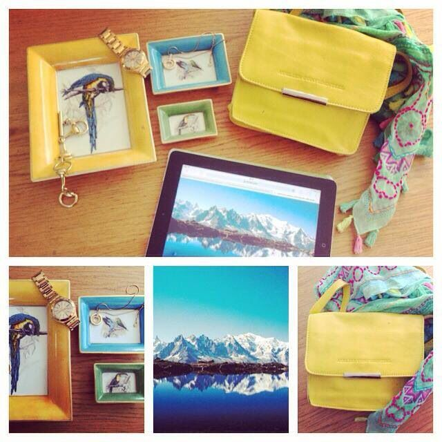 Claire bandouliere bag in yellow and set of small trays in porcelain