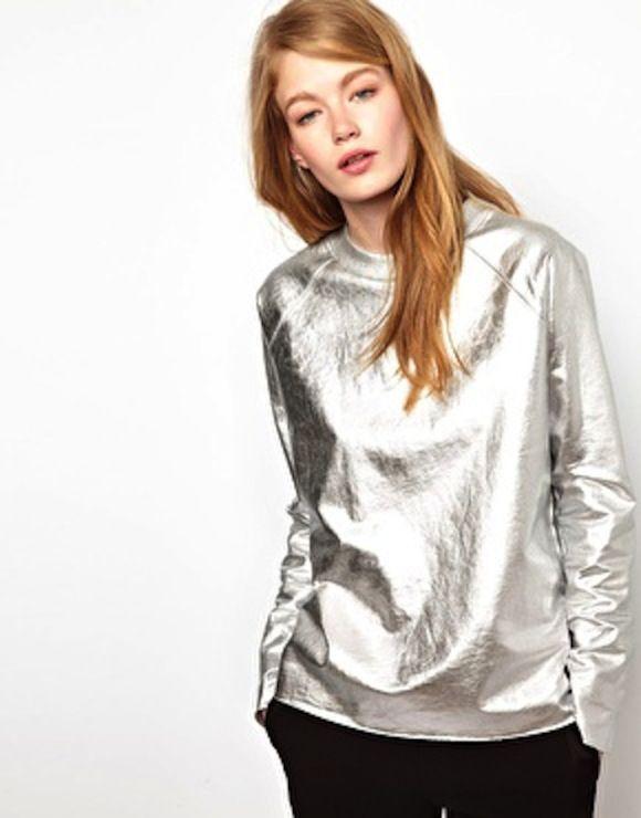 Пуловер металлик серебро