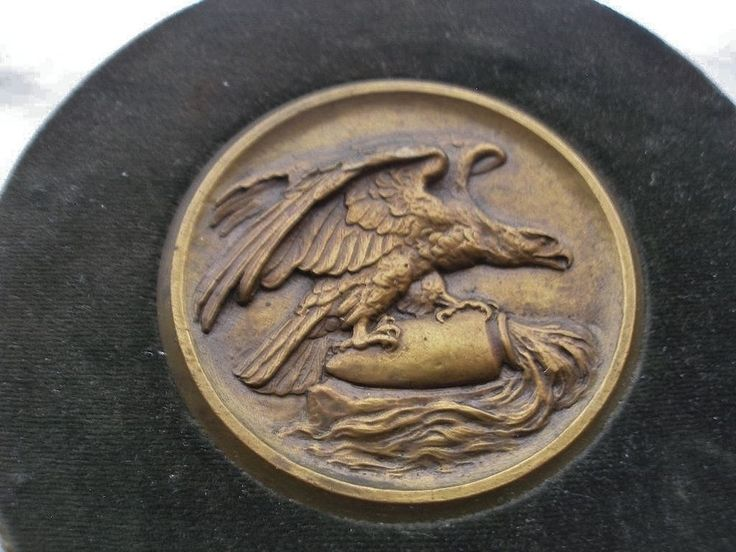 Incredible EAGLE Antique BRONZE or Brass PLAQUE Medallion MEDAL Framed 1800s ART