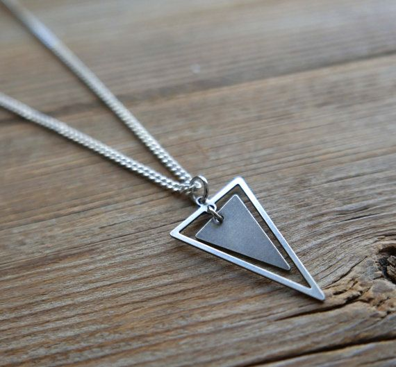 "Men Necklace - Men Silver Necklace - Men Geometric Necklace - Men Jewelry - Boyfriend Gift - Husband Gift - Guys Necklace - Vegan Jewelry  The simple and beautiful necklace features blackend silver plated chain with a triangle pendant.  Length: 25"" (65cm). $35"