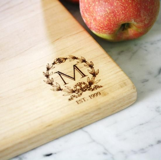 Personalized cutting board made from solid maple wood. Custom engagement, wedding or anniversary gift. | Made by people who care on Hatch.co