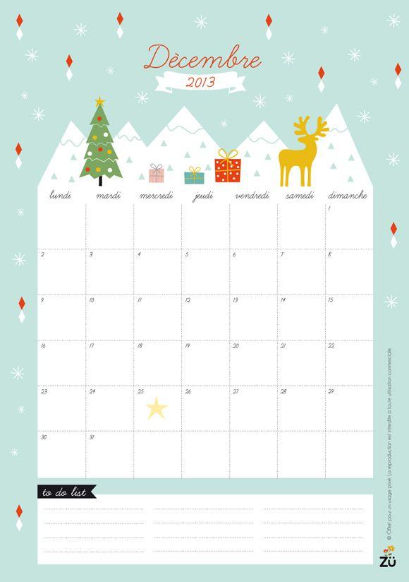december 2013 free printable.