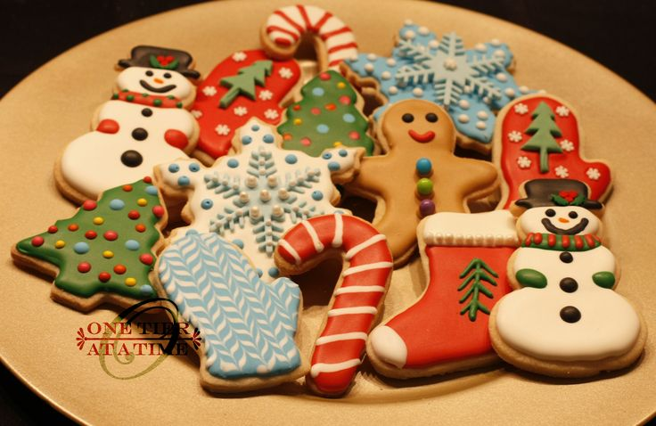 Christmas sugar cookies - snowman, candy cane, gingerbread, Christmas tree, snowflake, mitten, stocking