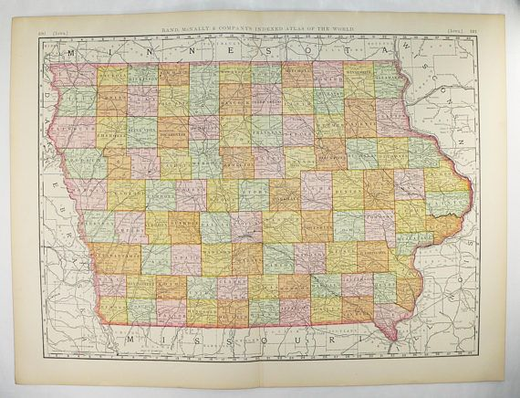 1896 Extra Iowa Map Antique Map of Iowa State Map Iowa Gift