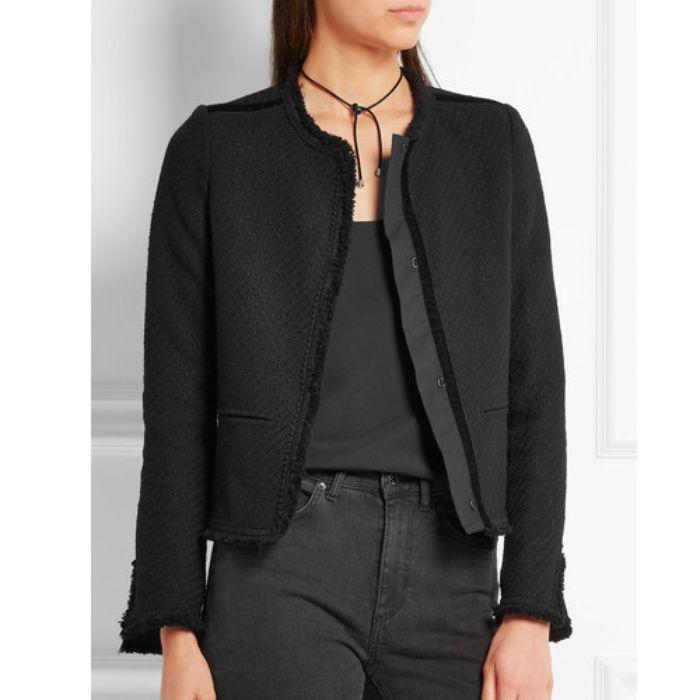 Rank & Style - Maje Fringed Bouclé-Tweed Jacket #rankandstyle