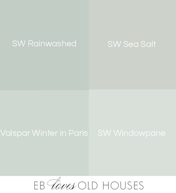EB Loves Old Houses | SW Rainwashed, SW Sea Salt, Valspar Winter in Paris, SW Windowpane. Finding that perfect shade of blue-green