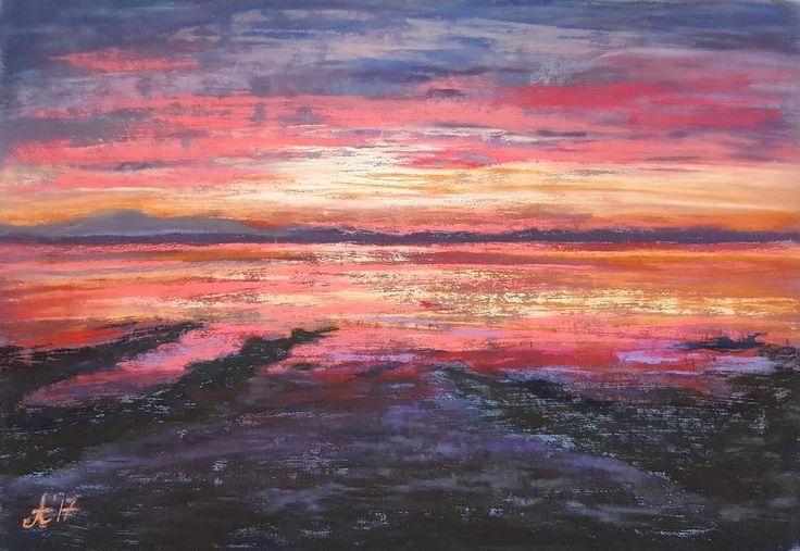 """Polubienia: 21, komentarze: 1 – Amaviael (@amaviael) na Instagramie: """"My first sunset painting made with pastels. #softpasteldrawings #softpastelpaintings…"""""""