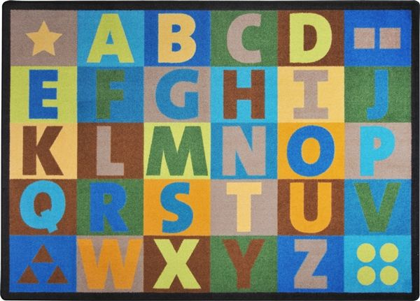 Oversize Alphabet Kids Classroom Seating Rug Earthtone | Earth ...