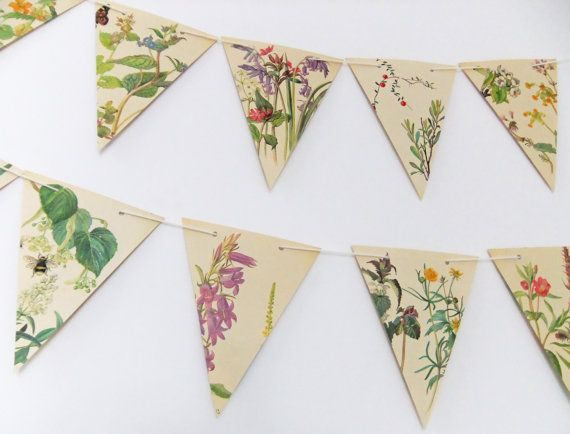 Spring and Summer Paper Bunting - recycled Garland - eco-friendly banner - upcycled bunting - wedding decor - Wedding Pennants via Etsy