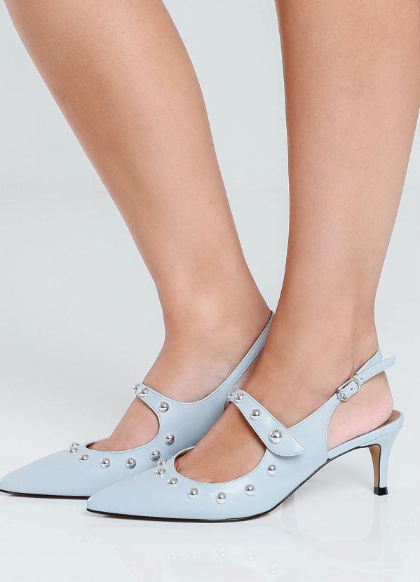 Scarpin Cesaretti Sapato de couro Azul Azul   – Products