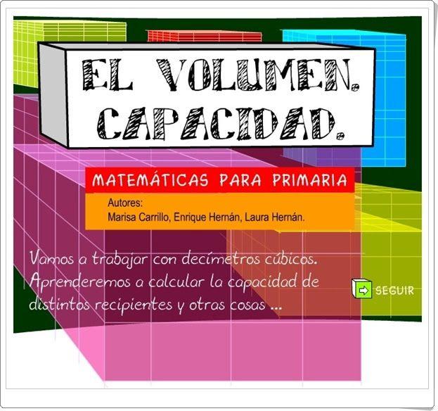 """""""El volumen. Capacidad"""" (Medidas en Educación Primaria)"""