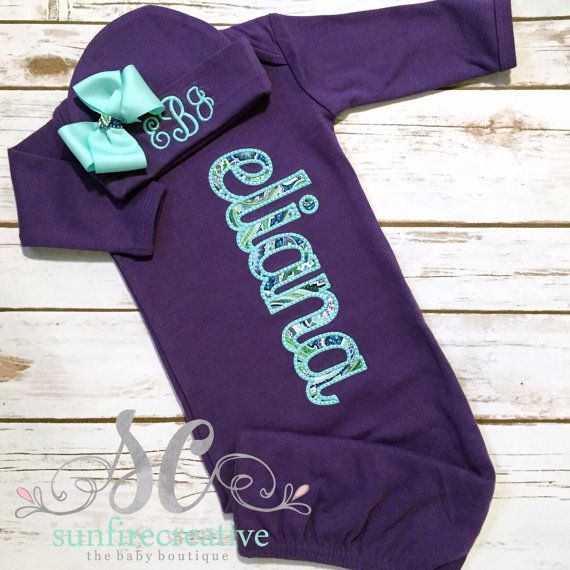 This cute personalized gown or bodysuit is perfect for your little one or would make a great shower gift for mommies to be. It features the